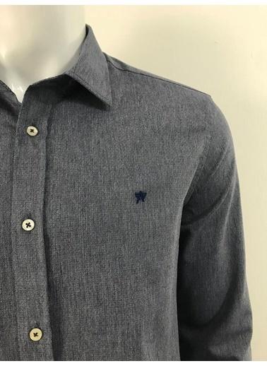 Abbate Baharlık Armürlü Slımfıt Casual Gömlek Lacivert